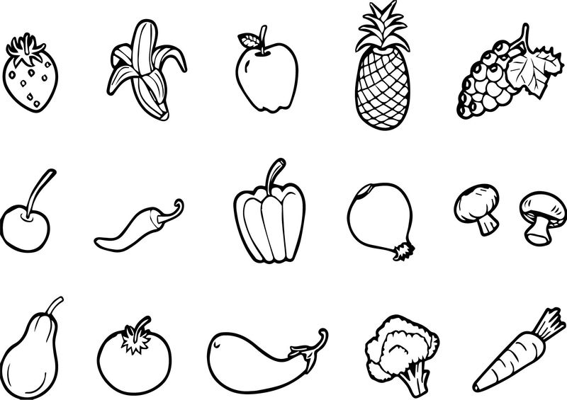 Fruits And Vegetables Set Free Coloring Page