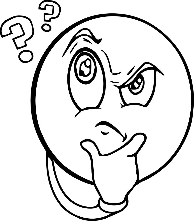 Frustrated Face Thinking Coloring Page