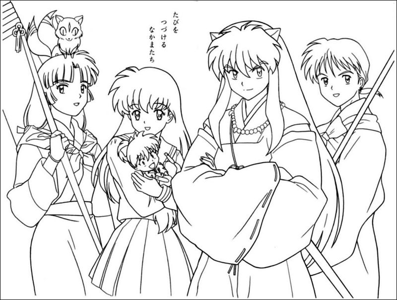 Full Inuyasha Characters Coloring Pages