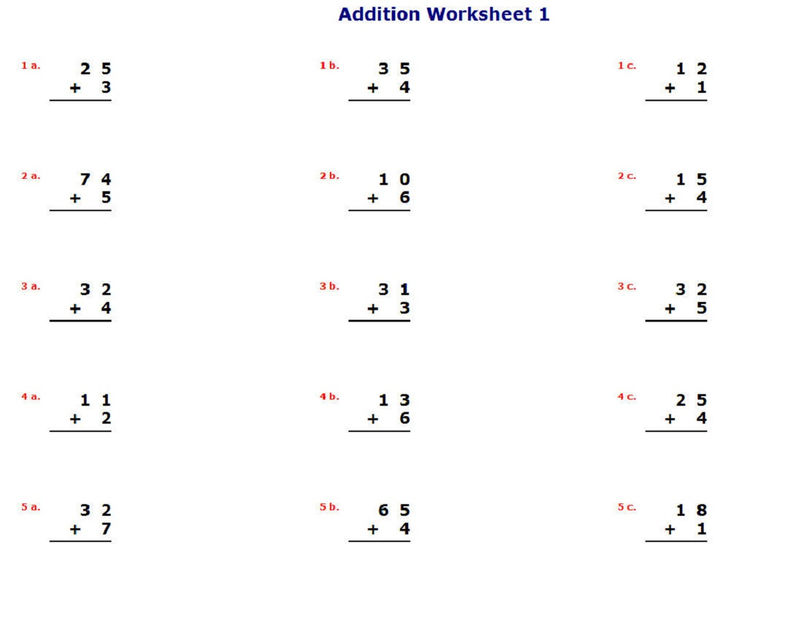 Fun Addition Worksheets Learning Math 001