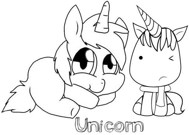 Fun And Cute Baby Unicorn Coloring Page