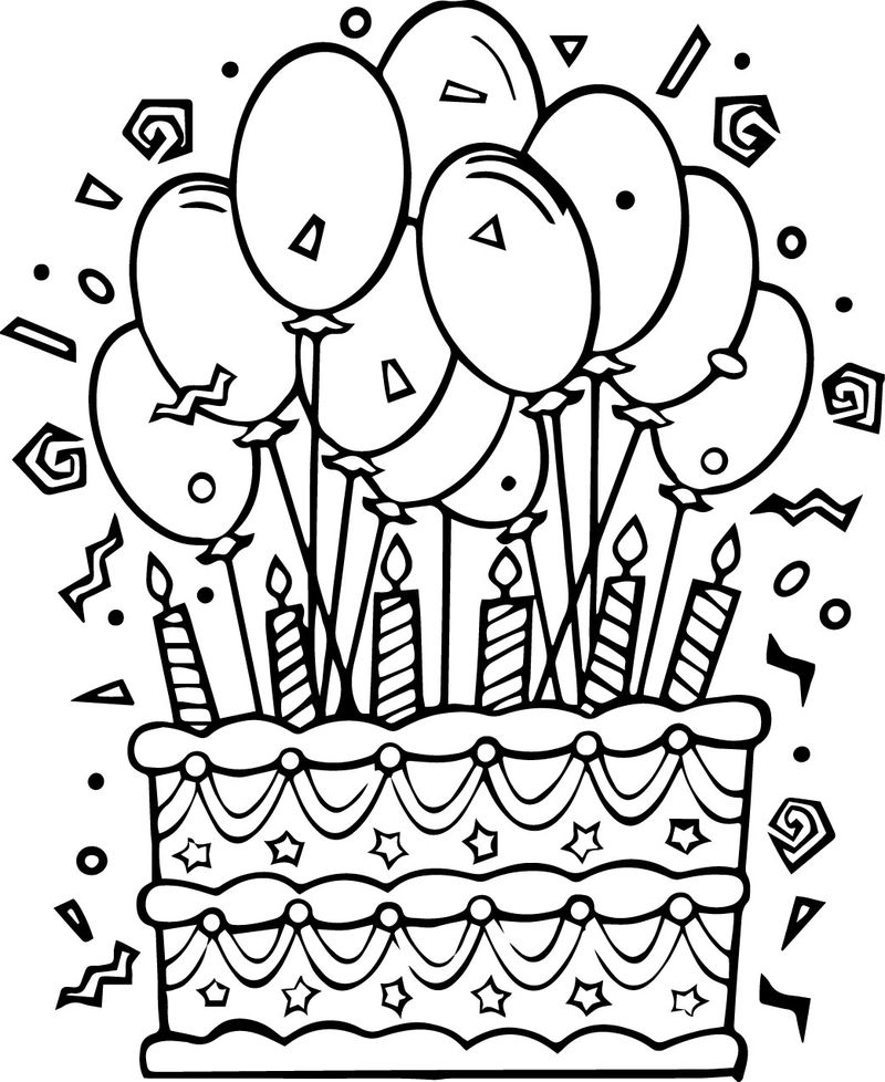 Fun Birthday Cake Coloring Pages