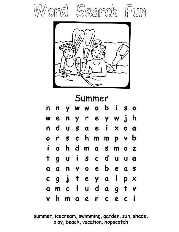 Fun Kids Worksheets Word Search 001