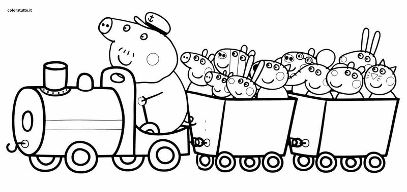Fun Peppa Pig Train Ride Picture For Coloring
