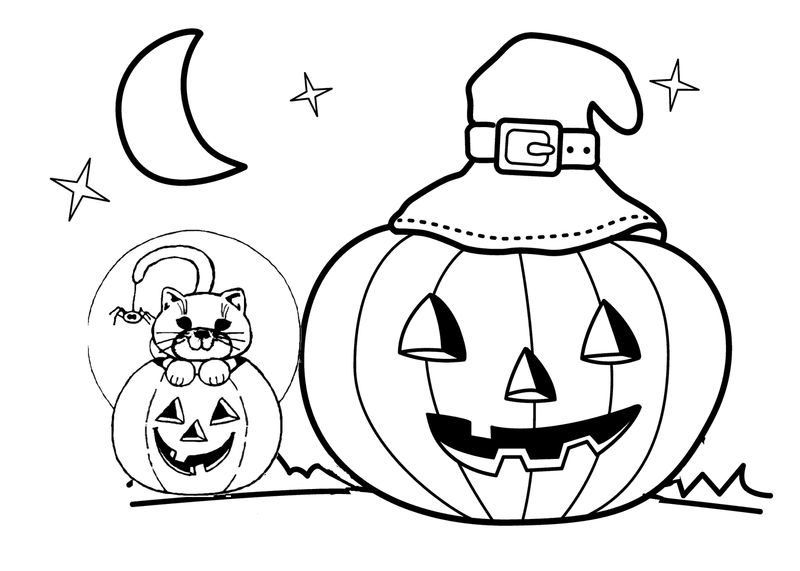 Fun Printable Jack O Lantern With A Witch Hat Coloring ...
