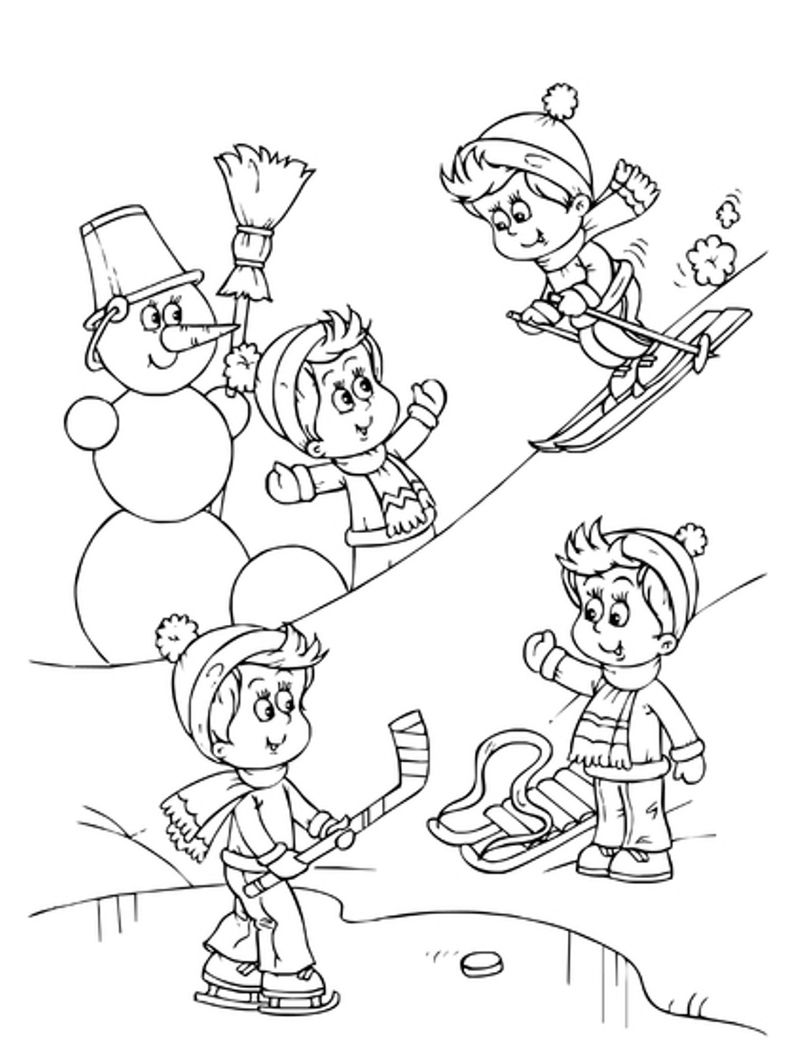 Fun Winter Activities Coloring Page