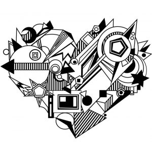 Funky heart shape coloring page for adults
