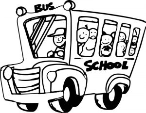 Funny bus kids cartoon wall preschool coloring page