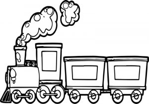 Funny cartoon train coloring page