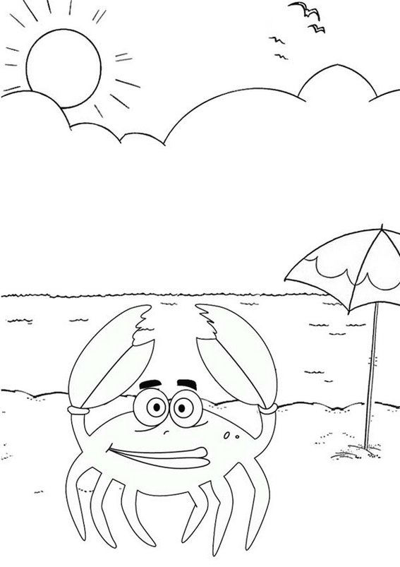Funny Crab Summer Beach Coloring Pages