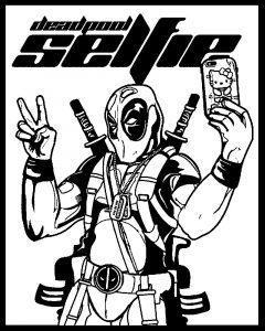 Funny deadpool selfie coloring page