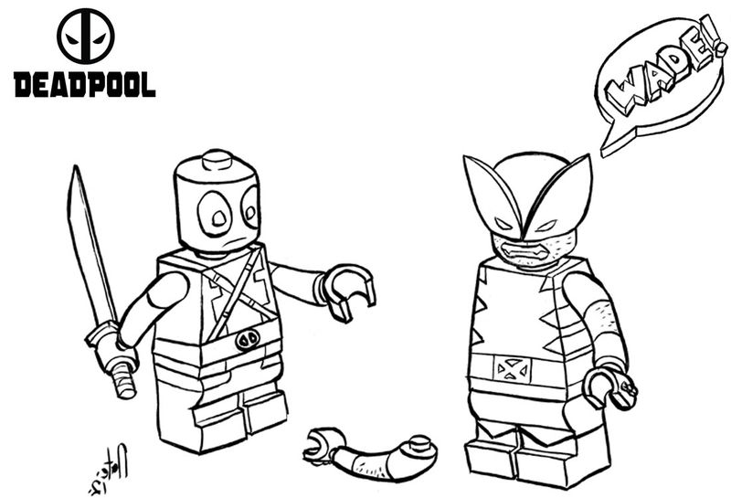 Funny Lego Deadpool Coloring Pages