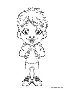 Funny young boy student coloring page