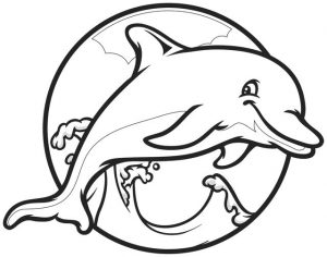 Funyy dolphin coloring pages