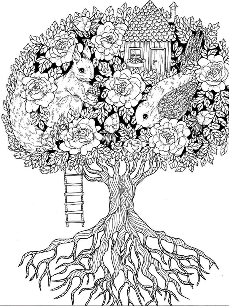 Garden In A Tree Coloring Page