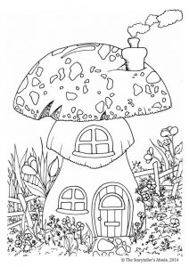 Garden mushroom home coloring page