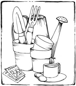 Gardening tools coloring page