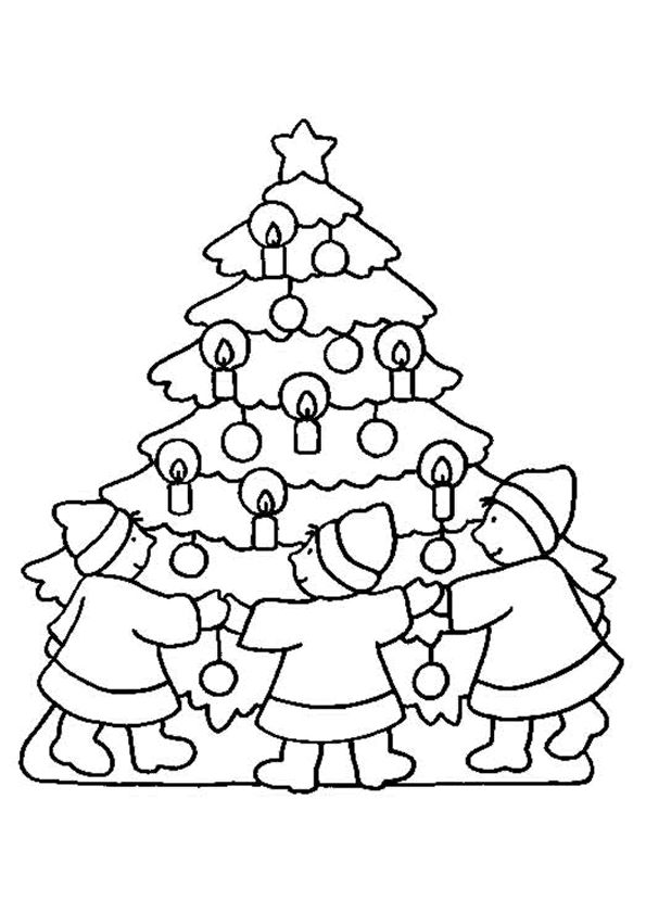 Gather Around Christmas Tree Coloring Page