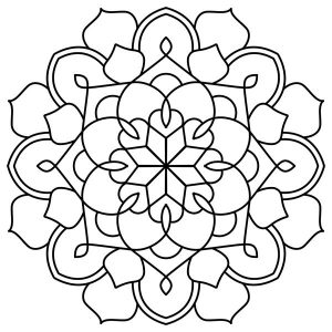 Geometric mandala flower coloring pages