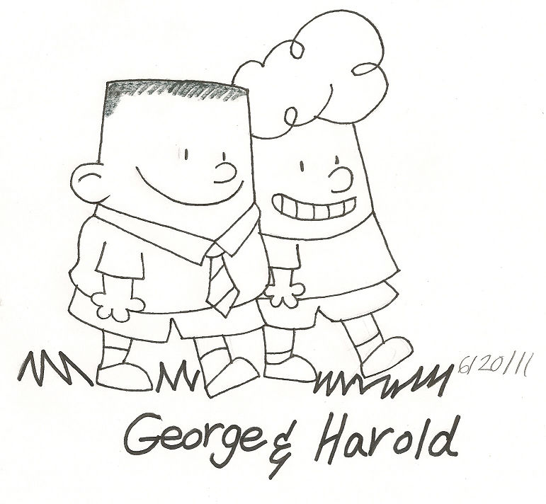 George And Harold Captain Underpants Drawing To Colorj