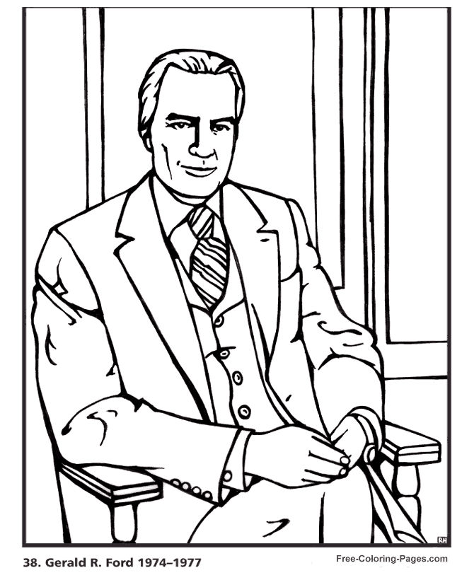 Gerald Ford Presidents Day Coloring Pages
