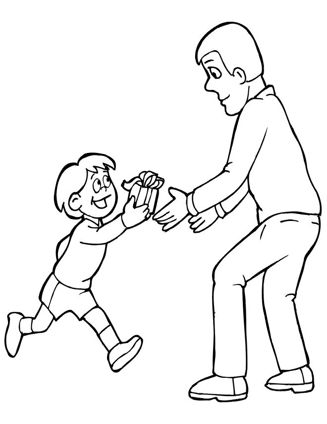 Gift For Dad Fathers Day Coloring Page 001