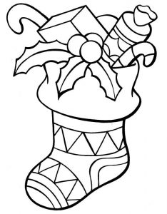 Gifts christmas stocking coloring pages 001
