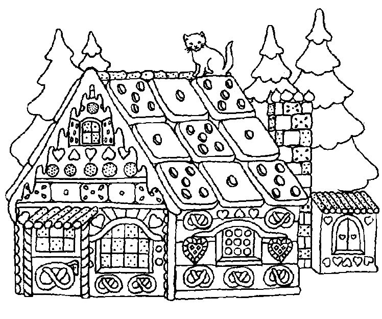 Gingerbread Christmas Coloring Page 1