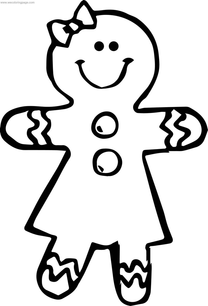 Gingerbread Girl Cookie Coloring Page