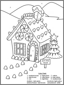 Gingerbread house christmas color by numbers 001