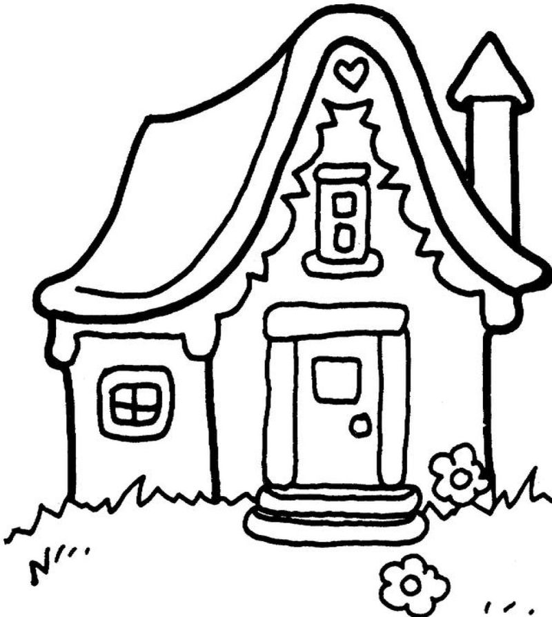 Gingerbread House Coloring Pages For Kids 001