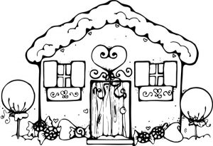 Gingerbread house coloring pages for kids 002