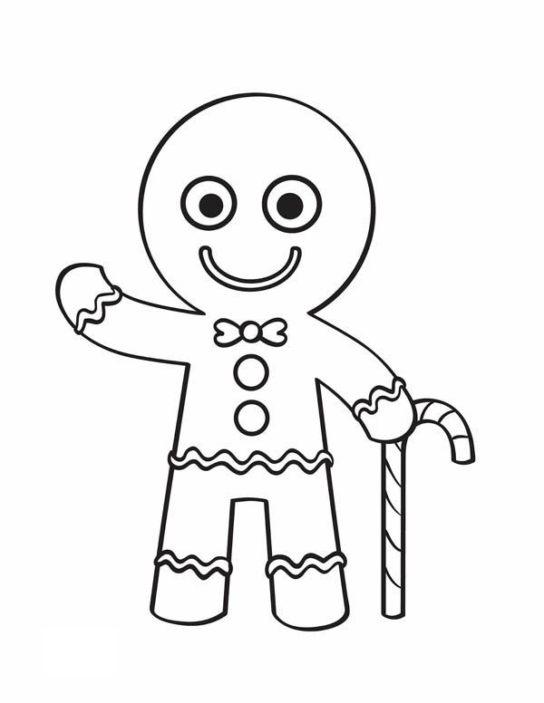 Gingerbread Man With Candy Cane Coloring Pages