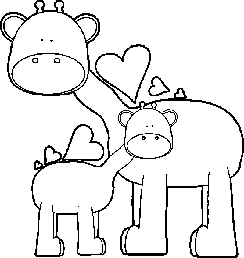 Giraffe Family Coloring Page