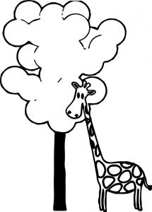 Giraffe tree coloring page