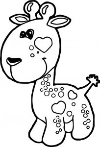 Giraffe very small cartoon coloring page