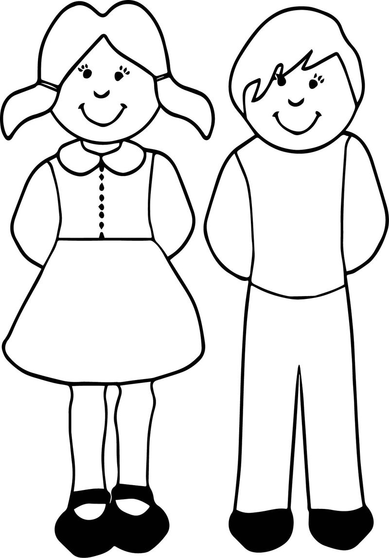 Girl And Boy For Kids Coloring Page