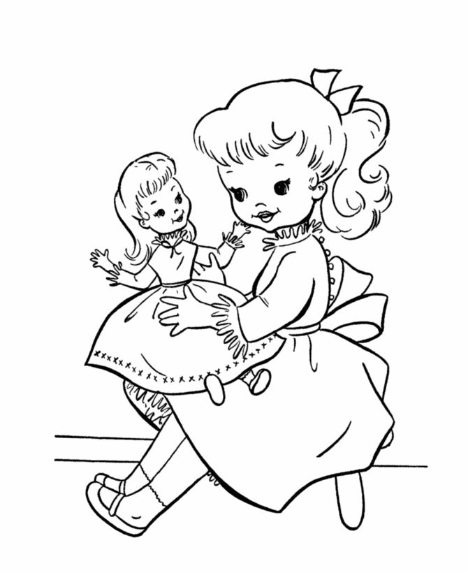 Girl And Doll Toy Coloring Page 001
