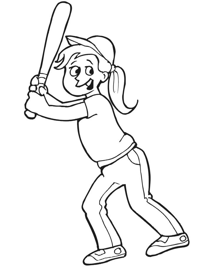Girl baseball coloring pages 001
