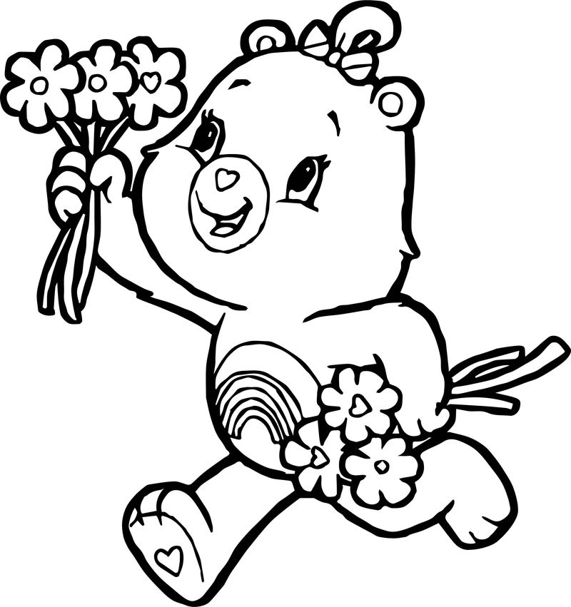 Girl Bear Flower Coloring Page