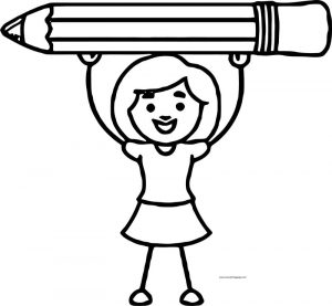 Girl carrying pencil coloring page 1