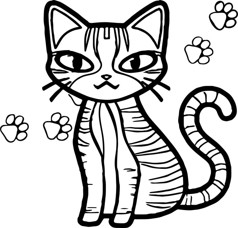 Girl Cat And Girl Footprint Coloring Page