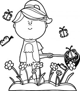 Girl catching butterflies coloring page