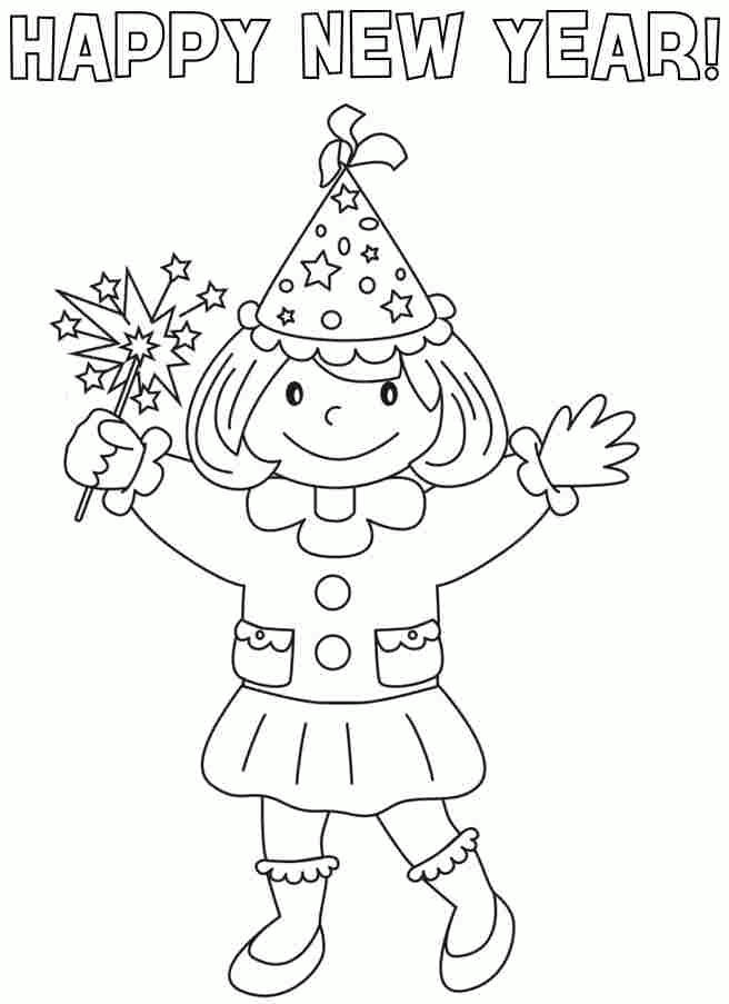 Girl Happy New Year Coloring Pages