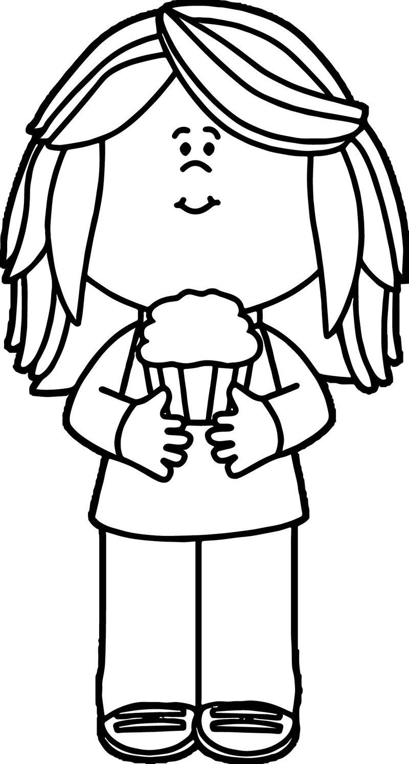 Girl holding cupcake coloring page