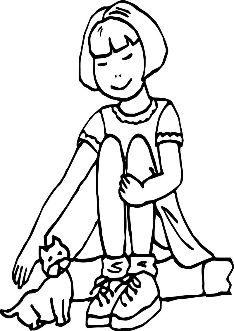 Girl Kitten Coloring Page
