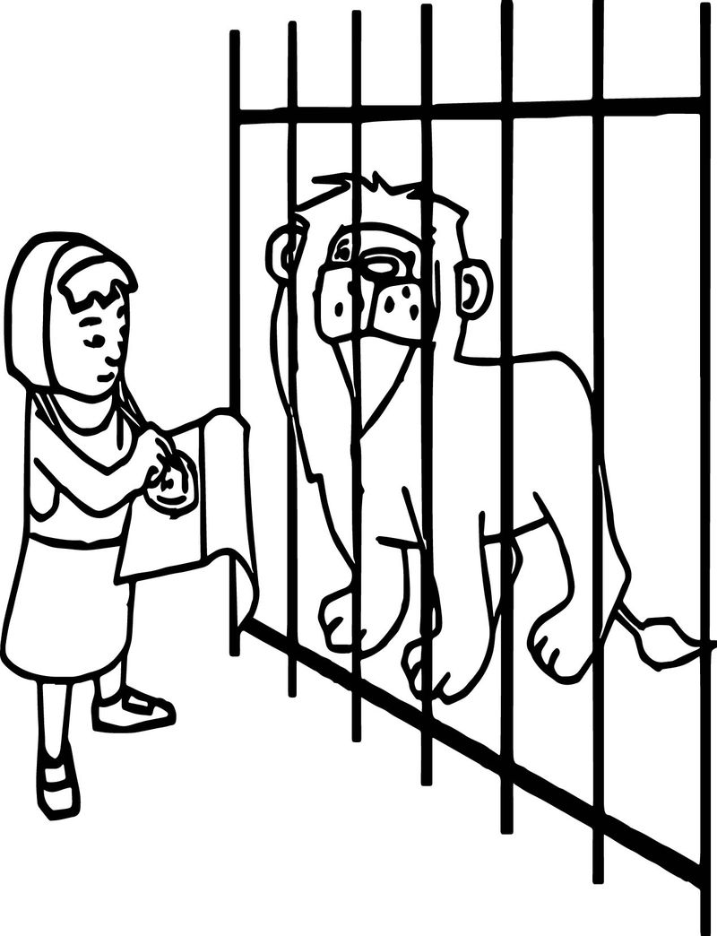 Girl On The Zoo Drawing Pictures Coloring Page