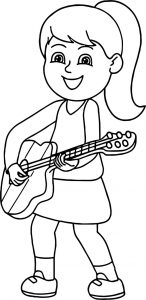 Girl playing guitar playing the guitar coloring page
