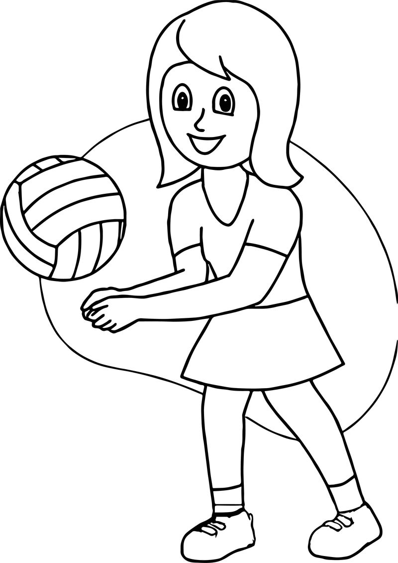 Girl Playing Volleyball Good Coloring Page