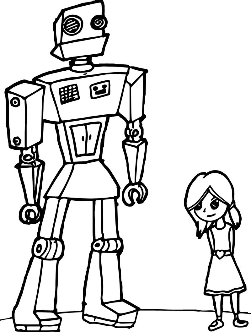 Girl Robot Coloring Page